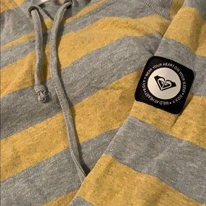 Roxy Mustard Yellow And Gray Striped hoodie size L